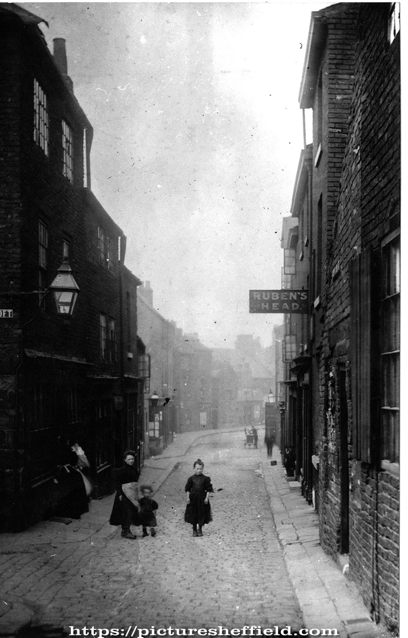 Campo Lane at junction with Hawly Croft, Reuben's Head Public House on right