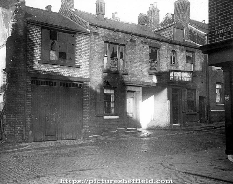 Rowland Street at junction with Apple Street, showing gable of No. 15, Rowland Street, where it adjoins the premises of Messrs. Longbottom and Co., Colliery Agents