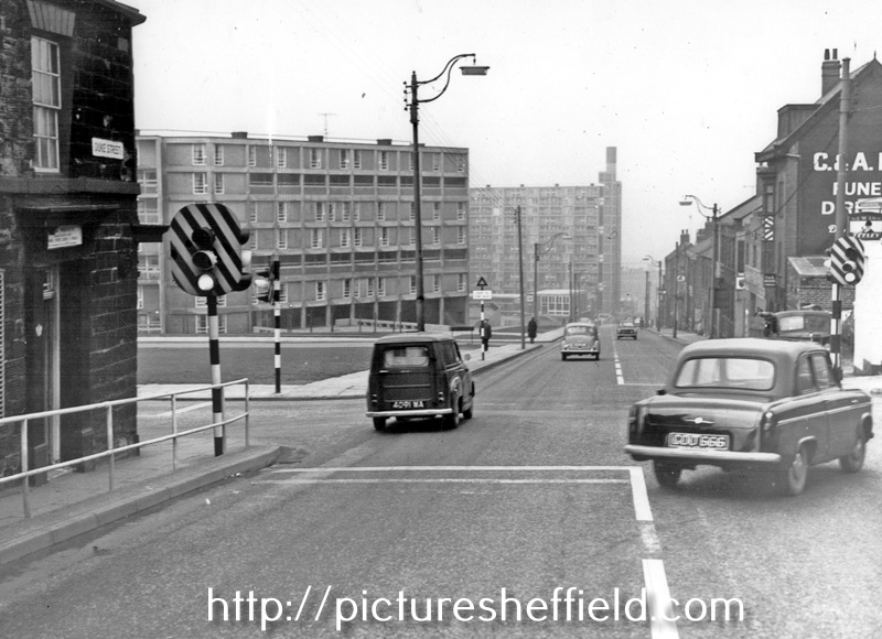 Duke Street and Talbot Street junction looking towards Park Hill Flats. No 200, (left) Oddfellow's Inn, No 179, C and A Reed Ltd, Funeral Directors (Oriel House)