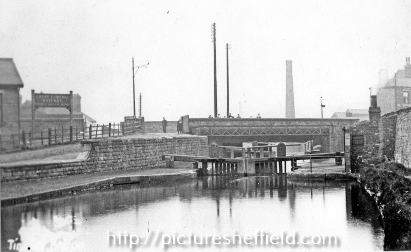 Tinsley Lock bottom of Plumpers Road with Sheffield Road Bridge with sign for Great Central Railway visible (left)