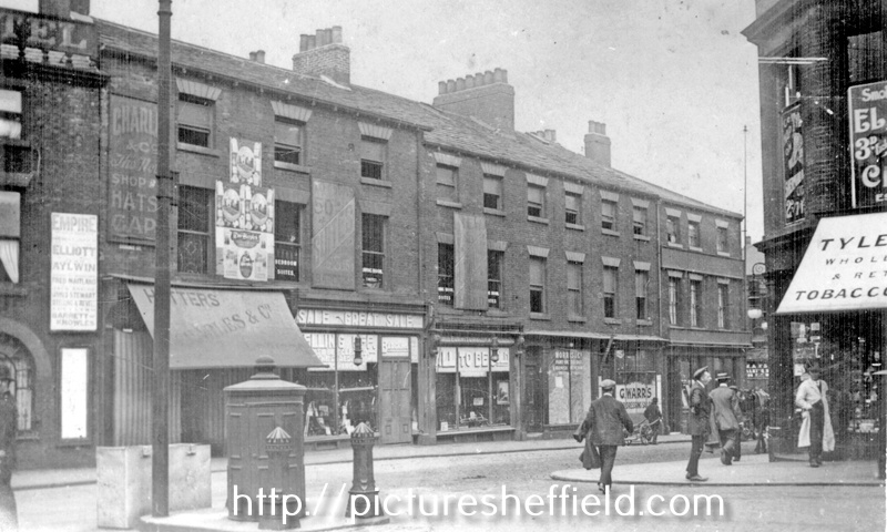 Exchange Street, from Haymarket, including No 1, Charles and Co., Hosiers, Nos 3-5, British Furnishing Co., House Furnishers shops, demolished 1913