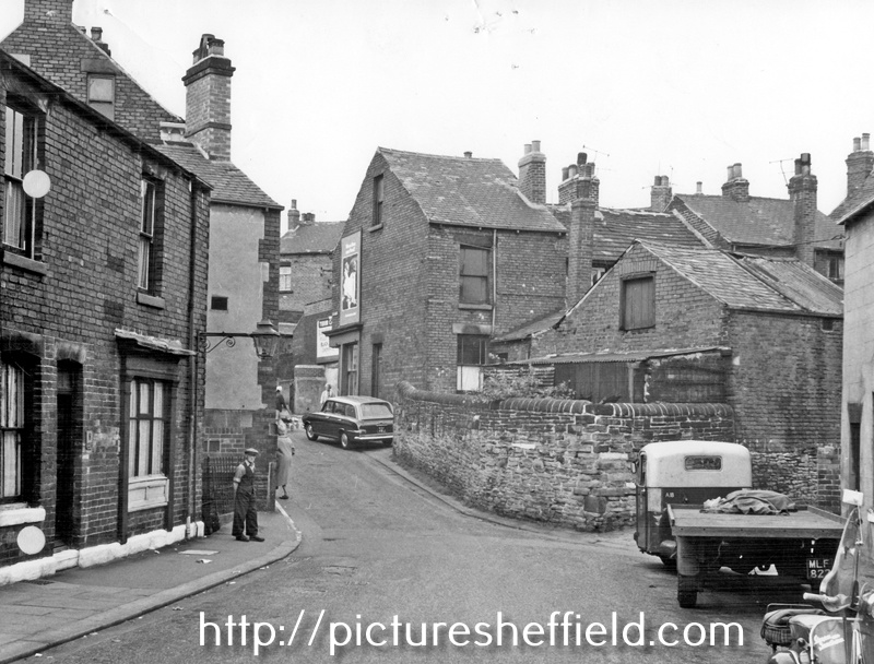 Kent Road looking towards Gleadless Road. Court No 1 approached via cutting behind vehicles on right. The building at the rear of the butchers shop on the right was the slaughter house