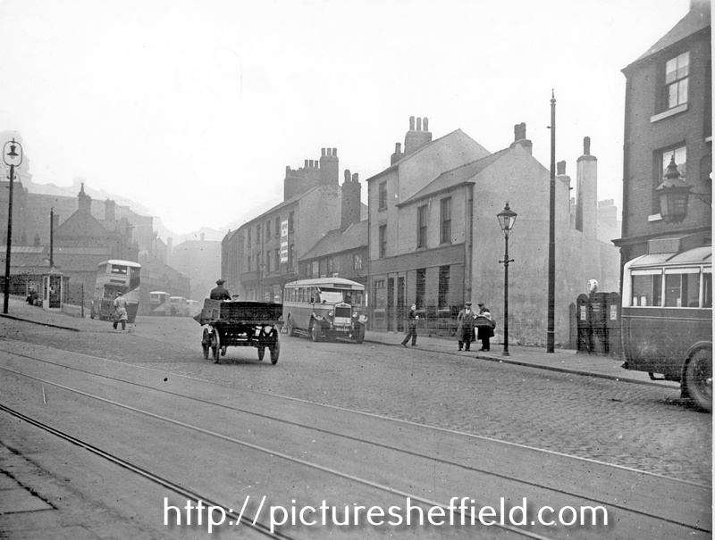 Pond Street at junction with Flat Street, No 83 and 85, Royal Oak P.H., extreme right, next to petrol pump, entrance to Court 7, No 75 and 77, Beerhouse known as The Greyhound, note phone box, left