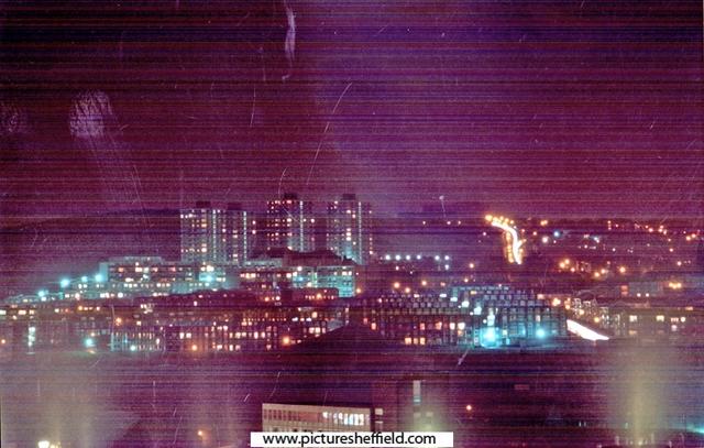 Night view of Pye Bank Flats area