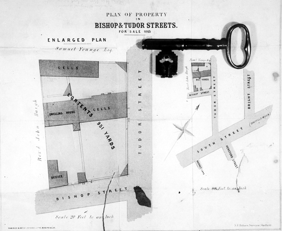 Plan from auctioneer's notice of sale, and actual jail key from Ecclesall Gaol and Court of Requests, Tudor Street Moor (later became Thomas Street)