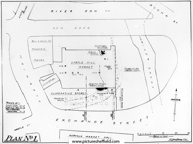 Sheffield Castle excavations recorded by J.B. Himsworth. Plan of Castle Hill Market area showing the ruins of Sheffield Castle uncovered during excavations, 1928-1929