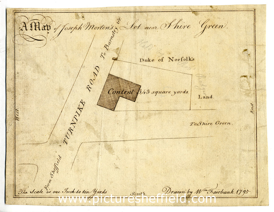 A map of Joseph Morton's lot near Shire Green [Shiregreen], 1794/5