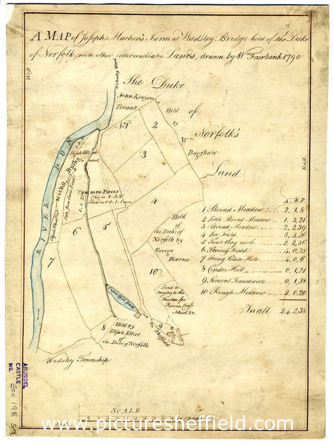 A map of Joseph Machen's Farm at Wadsley Bridge held of the Duke of Norfolk with other intermediate lands