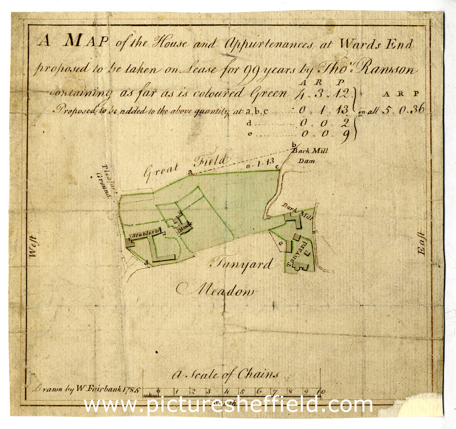 A map of the house and appurtenances at Wards End [Wardsend] proposed to be taken on lease for 99 years by Thos. Rawson �