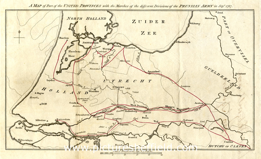 Map of part of the United Provinces with the marches of the different divisions of the Prussian army in September 1787