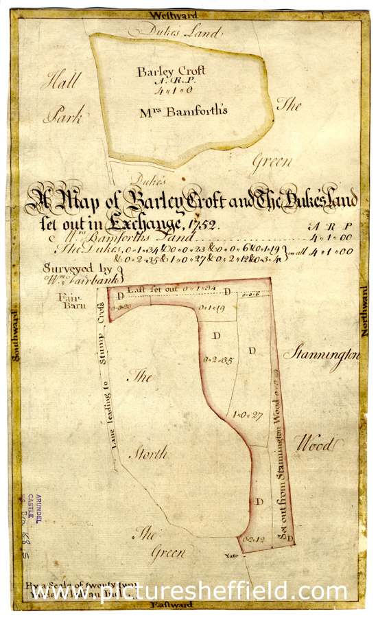 A map of Barley Croft and The Duke's land set out in Exchange