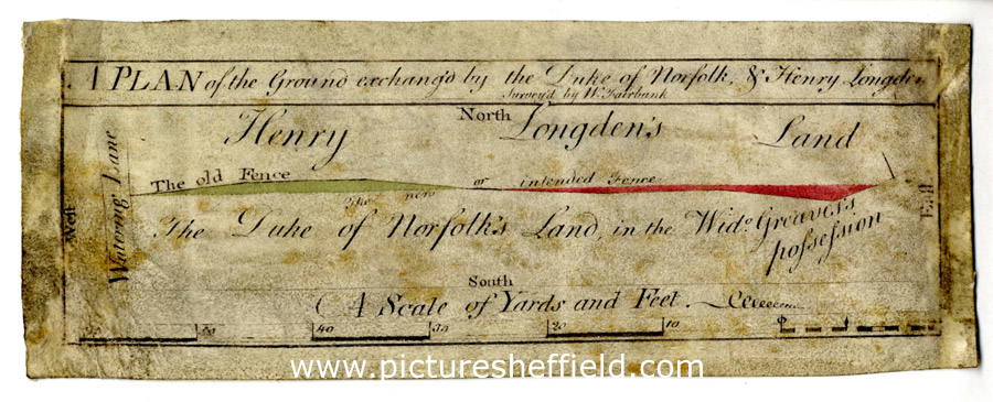 Plan of the ground exchanged by the Duke of Norfolk and Henry Longden, [c. 1754 - 1781]