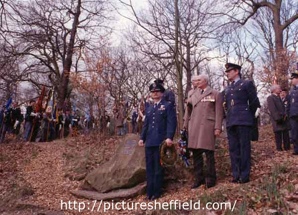 Remembrance service in memory of (Mi Amigo) U.S.A.F. Flying Fortress bomber crew who crashed 22 Feb 1944, Endcliffe Park