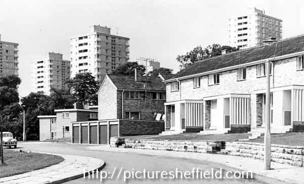 Bankwood Road, Gleadless Valley with Gleadless Valley council flats in the background.