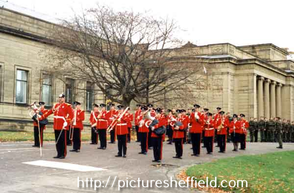 Military band playing in Weston Park for Remembrance Day
