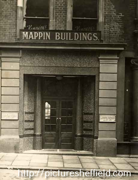 Entrance to Mappin Buildings, Norfolk Street showing the offices of Lewis, Rose and Co. Ltd., cutlery manufacturers