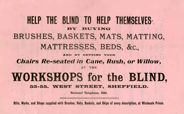 Advertisement for Sheffield Institution for the Blind workshops, 53 and 55 West Street