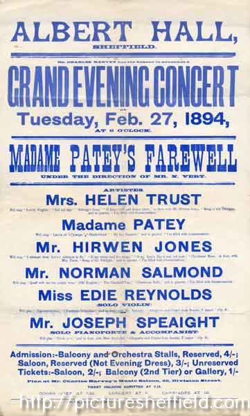 Albert Hall, Sheffield. Grand evening concert : Madame Patey's farewell