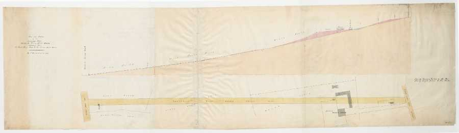 Plan and section of an intended road through the Brooms Grove estate extending from Clark House Road to the banner Cross Road