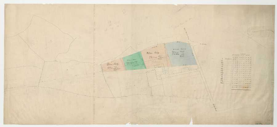 Four lots of William Staley, with the projected line of [Broomgrove Road], [1833]