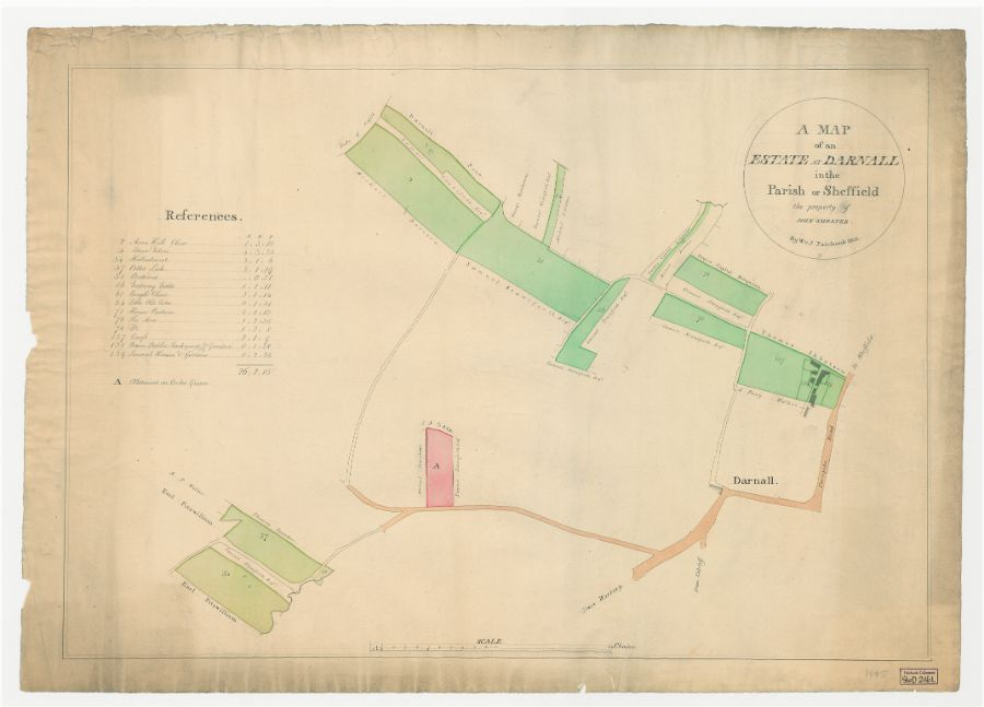 A map of an estate in Darnall in the Parish of Sheffield, the property of John Smelter