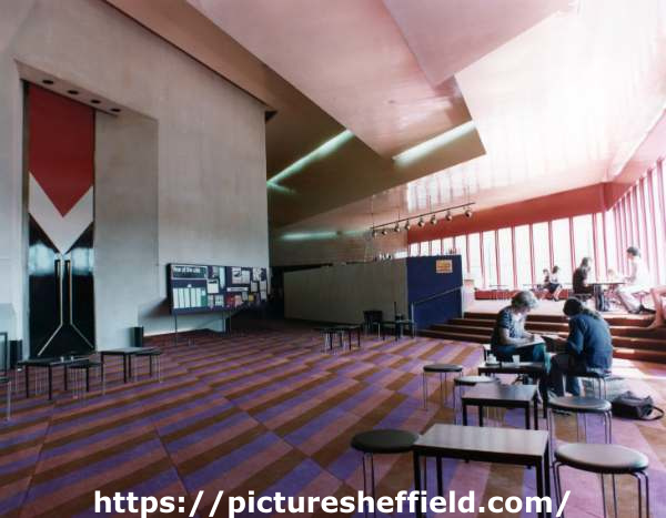 Bar area and entrance doors (left) to the auditorium, Crucible Theatre, No. 55 Norfolk Street