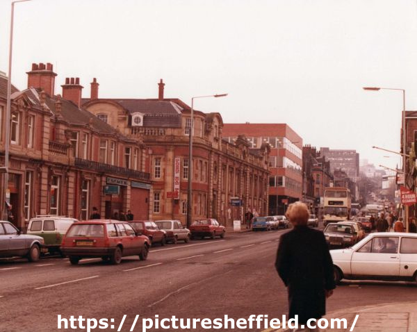 Glossop Road looking towards (left) Nos. 207 - 211 Barclays Bank and (centre) Glossop Road Baths