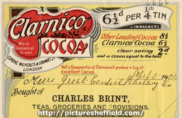 Advertisement (billhead) for Clarnico Cocoa, Charles Brint, teas, groceries and provisions, Woodhouse