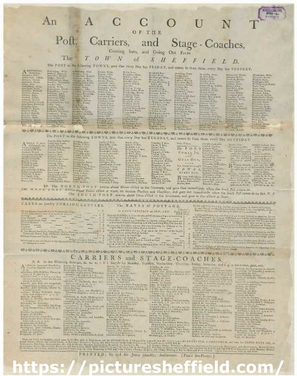 An account of the post, carriers, and stage coaches coming into, and going out from the town of Sheffield, [pre-1776]