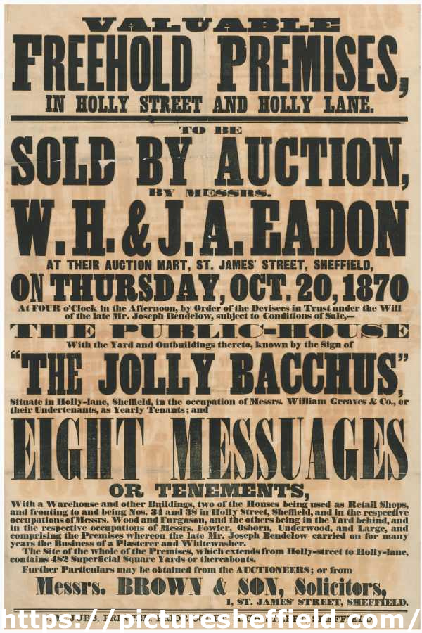 Notice of auction of valuable freehold premises in Holly Street and Holly Lane for sale