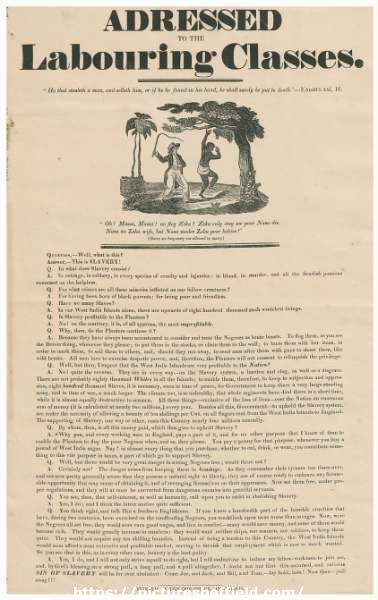 Addressed to the labouring classes [anti-slavery broadsheet], c. 1820s
