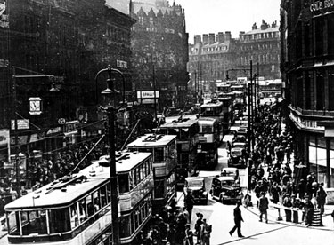 General view of Fargate from High Street, Cole Brothers on the right