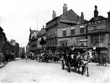 High Street from 'Coles Corner', before road widening, including No 6, William Lewis, Tobacconist, No 8, White Bear P.H., Nos 10-14, William Foster and Son Ltd., Tailors