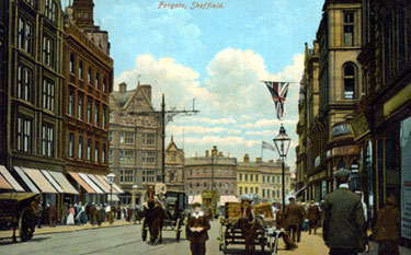 Fargate looking towards High Street and Parade Chambers, postmarked 1907. Cole Brothers Department Store, left