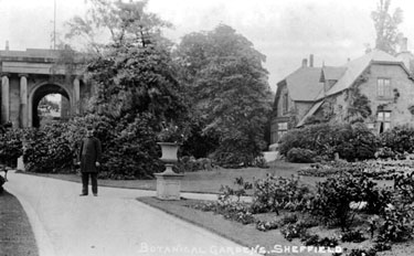 Neo-classical entrance and Park Keepers Cottage in the Victorian Garden, Botanical Gardens. The uniformed man is believed to be the arresting Officer of Sheffield murderer, Charlie Peace