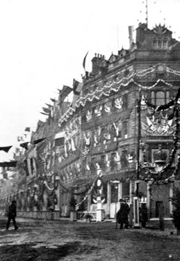Cole Brothers Department Store, Fargate, decorated for the royal visit of Queen Victoria