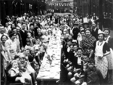 VE Day street party, Rotherham Street, Attercliffe
