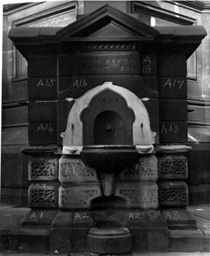 Drinking fountain at base of the Crimean Monument, Moorhead, numbered prior to removal. Given to the city in 1859 by John Brown, former Lord Mayor and Master Cutler