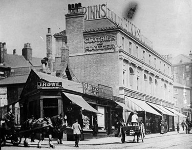 South Street, Moor, at junction of Carver Street, No 20, James Howe and Sons, Butchers, Nos 2-12, George Binns Ltd, Tailors