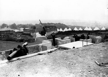 A A Gun emplacement on Warminster Road during World War II