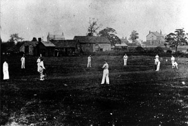 Bradway Cricket Club. Cricket ground at Lower Bradway near present day Edmund Avenue. Cottages in background were on Bradway Road