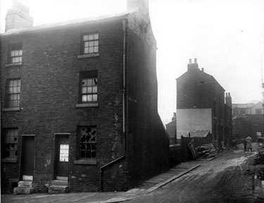 School Lane from Nos 51 and 51A Duke Street, rear of Feathers Inn in extreme background