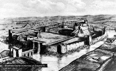 Artist's Impression of Sheffield Castle around 1350