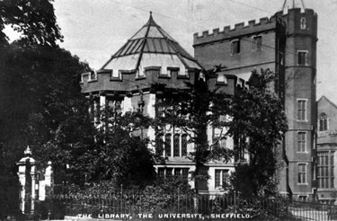 University of Sheffield and Edgar Allen Library, Western Bank. University of Sheffield opened 12th July, 1905 by King Edward VII and Queen Alexandra. Edgar Allen Library opened 26th April, 1909, by Prince and Princess of Wales,later King George V and