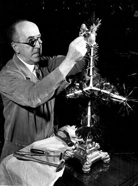 Year Knife, 1957 blade being added, by Mr. Stan Holmes, Manager of Penknife Dept., Joseph Rodgers and Sons Ltd.