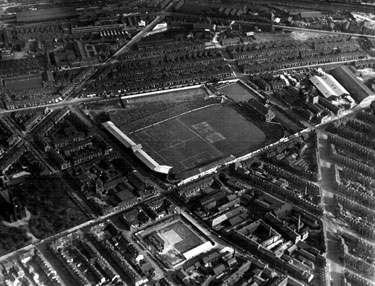 Aerial View - Bramall Lane Football and Cricket Ground, Denby Street Nursery in foreground, St. Mary's Church and Britannia Brewery, left, Hill Street and Anchor Brewery, right, Shoreham Street in background