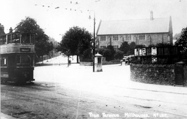 Millhouses Tram Terminus, Millhouses Wesleyan Methodist Chapel in background, Abbeydale Road South