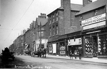 Attercliffe Road - showing No. 638 Horse and Jockey (licensee Henry Justice jnr.), Baltic Road, Central Saloon, hairdressers, Steve Wright's and Foster Brothers, outfitters