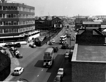 Elevated View of Attercliffe Road showing the junction of Royds Mill Street with Firth Brown and Co Ltd., Research Laboratories under construction