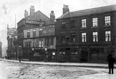 High Street prior to street-widening of 1896, No. 2, Thatched House Tavern and Restaurant, No 4, J. Preston, Chemist, No 6, William Lewis, Tobacconist, No 8, White Bear Inn, Nos 10-14, William Foster and Son Ltd., Tailors